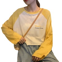 Short Length T-Shirt Letter Print Women Long Sleeves Casual Loose Summer Casual O-Neck Pullovers Fashion Tees Shirts цена