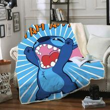 Cartoon Stitch Fleece Blanket Plush 3d Printed for kids boy/girl Sofa Sherpa Fleece Bedspread Wrap Throw Blanket style-1