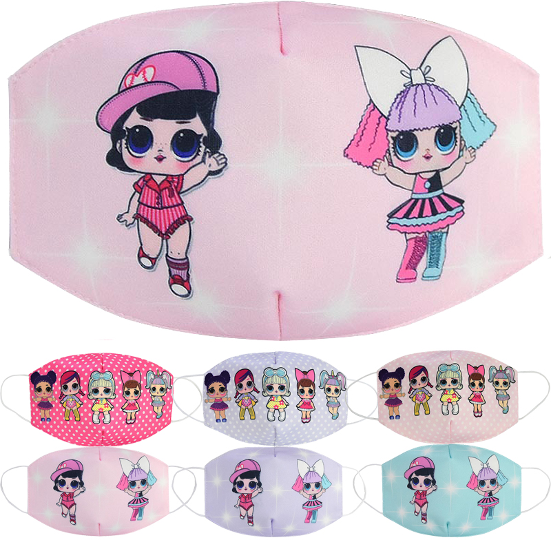 Children's Masks Dust-proof Breathable Anti-haze Face Mask LOL Surprise Dolls Cartoon Printing Anime Figures Gifts For Girls
