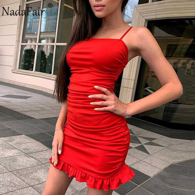 Nadafair Ruffles Sexy Dress Women Summer Party Clubwear 2021 Spaghetti Strap Ruched Bandage Mini Short Bodycon Women's Dress 4