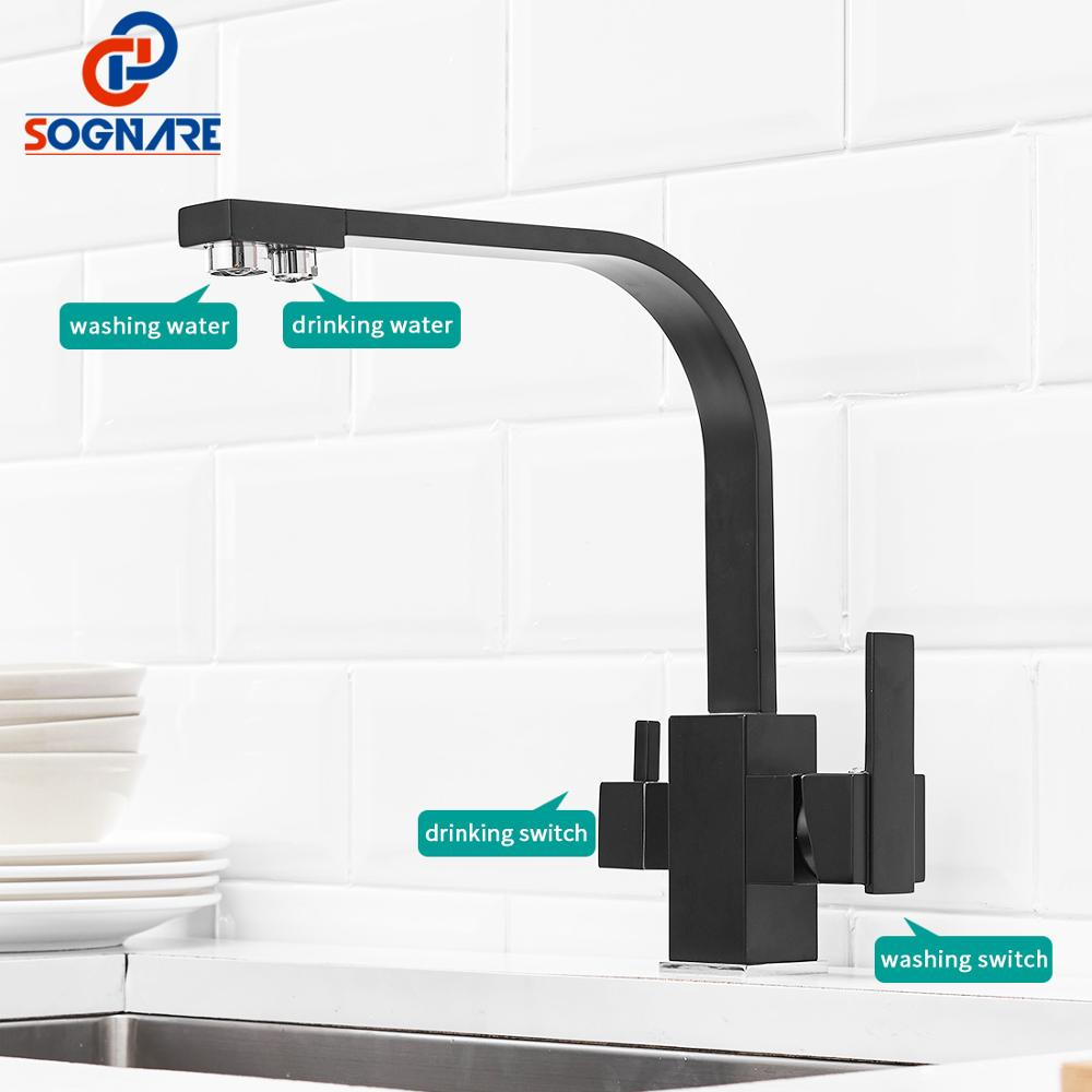 Noir carré robinets de cuisine 360 degrés Rotation 3 voies filtre à eau robinet robinets d'eau en laiton massif cuisine évier robinet mélangeur d'eau - 3