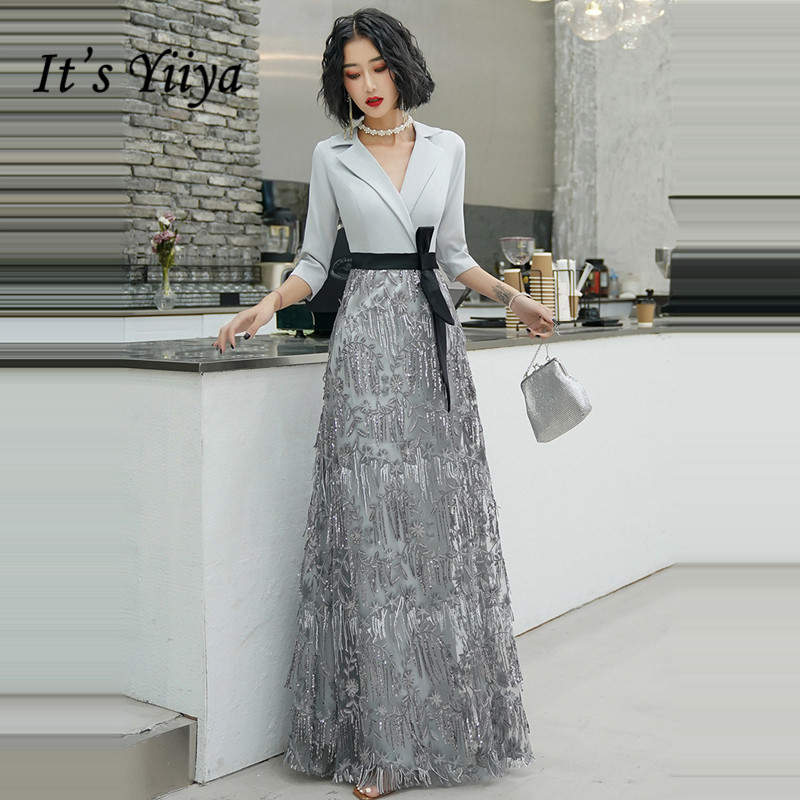 It's Yiiya Evening Dresses Gray Elegant Tassel Long Evening Dress V-neck Zipper Plus Size Formal Gowns 2020 Robe De Soiree LF087