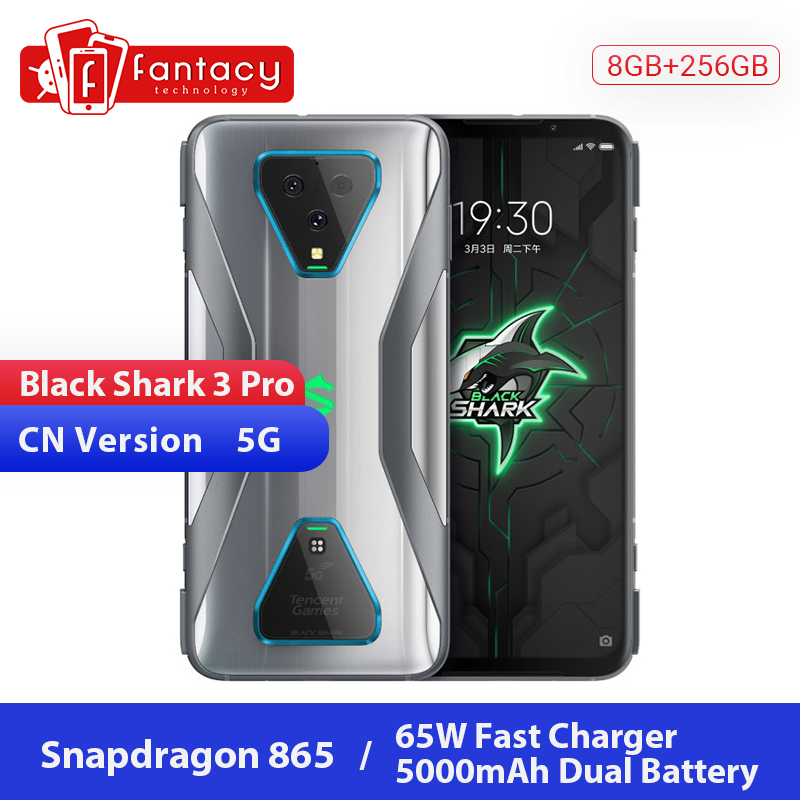 New Xiaomi Black Shark 3 Pro 5G Snapdragon 865 8GB 256GB Game Phone Octa Core 7.1'' AMOLED 64MP Triple Cams 65W 5000mAh UFS3.0