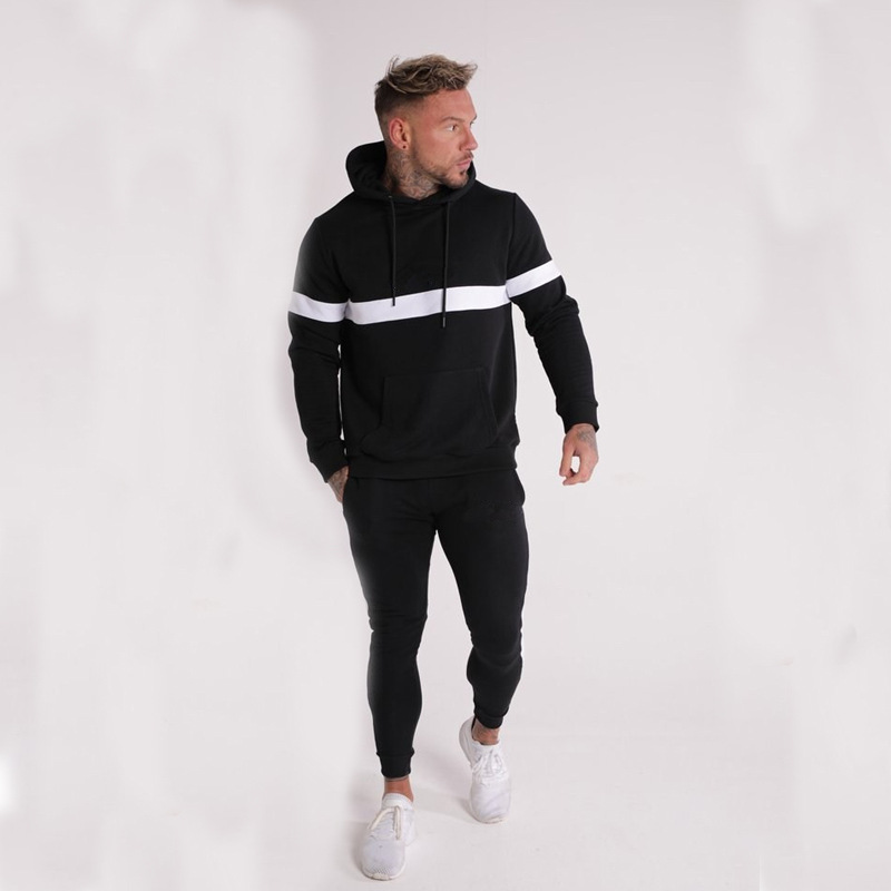 Vanquish Jogger Men's Pure Cotton Sports Suit New Fitness Stripe Solid Color Hoodie 2 Sets Hip Hop Tracksuit Mens Outfits 2019