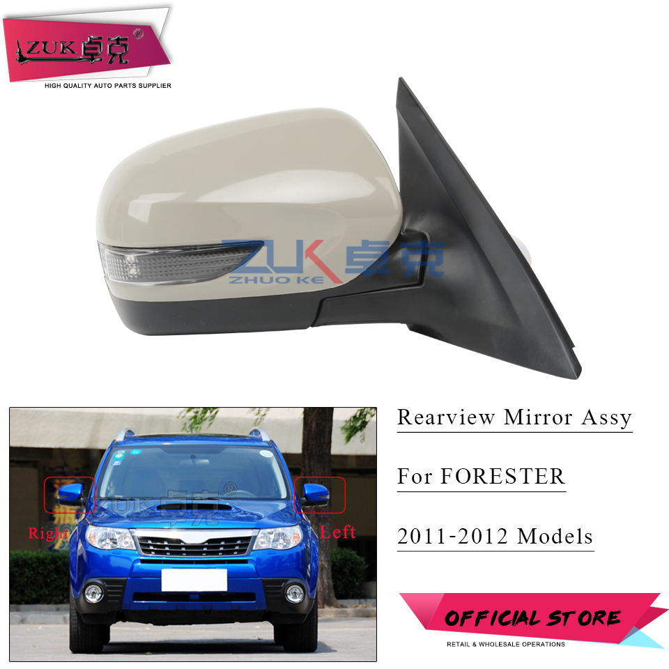 ZUK For Subaru Forester 2011 2012 Outside Rearview Mirror Rear View Mirror Assy LED Light + Heated + Auto Folding 9Pins