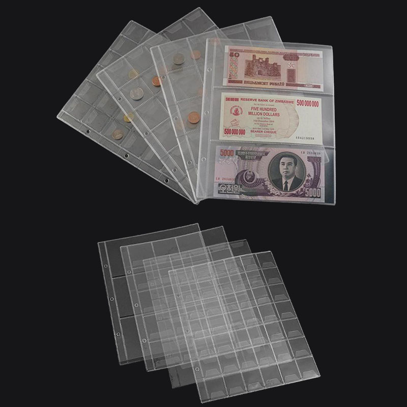 Serise Sets PVC Plastic Coin Holders Folder Pages Sheets For Storage Hard Cash Money Collection Album Mini Penny Storage Bag(China)