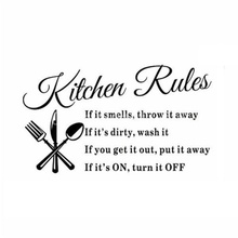 Kitchen Rules Restaurant Wall Sticker Decal Mural DIY Home Decor Art Quote Decal Black