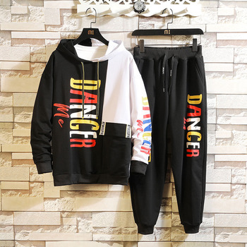 Harajuku Letter Print Men Set Hooded Hoodies + Pants Sets Tracksuit Men's Casual Sportswear New Brand Sweat Shirts Men Clothing zogaa new casual men tracksuit men hoodies sweatshirts with pants set brand new 2 piece set sweat suit mens joggers sets
