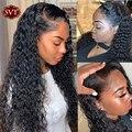Волнистый натуральный 360 кружевной передний al парик перуанские Remy человеческие волосы 13х4 кружевной передний парик SVT 180% предварительно выщ...