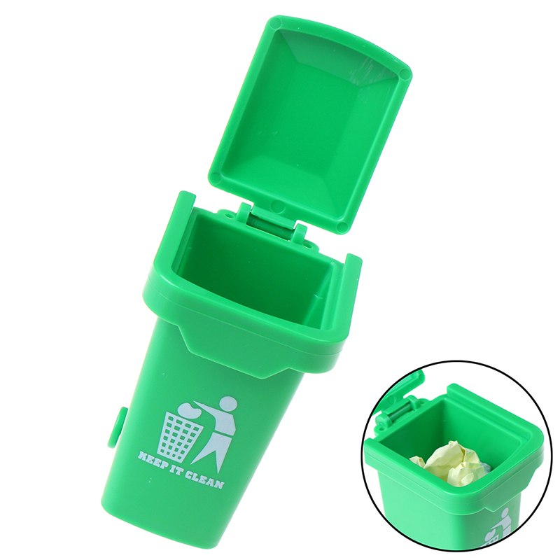 Green Color ABS 1:12 Dollhouse Miniature Trash Garbage Can Toys Home Decoration Trash Can Dollhouse Accessories