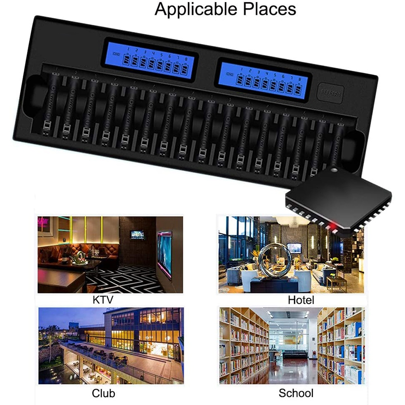 16 Slots LCD Display Smart Battery Charger For AA/AAA 1.2V Ni-MH Ni-Cd Rechargeable Battery