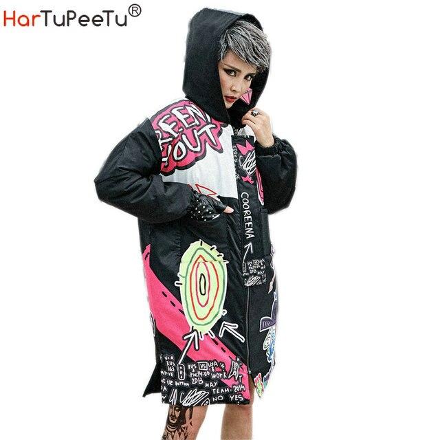 冬の女性のジャケットジッパーパーカーストリートグラフィティプリントカジュアル厚い綿のコート女性のための原宿ヒップホップジャケット