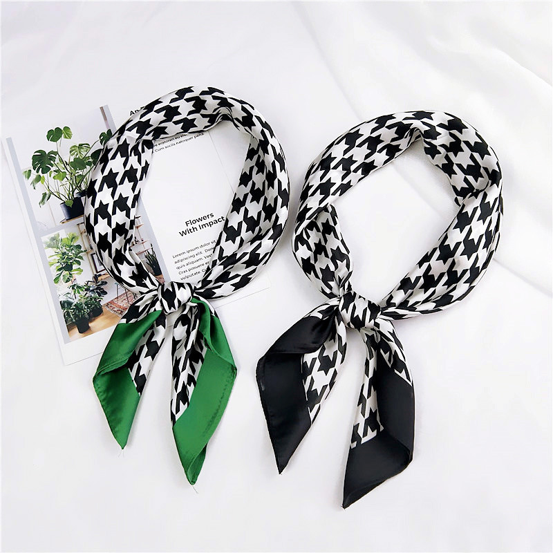 70*70 Cm 2019 Women Square Silk Scarf Print Foulard Female Stylish Silky Satin Houndstooth Head Scarf Women Neckerchief