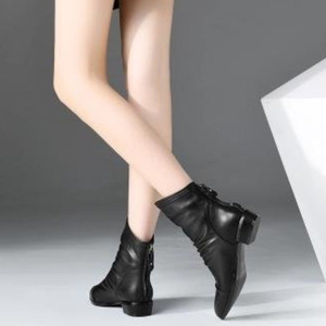 Image 3 - Women winter 2019 autumn new pointed sprain black artificial leather womens boots back zipper folds large size 43 ankle boots