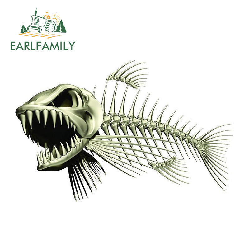 EARLFAMILY 13cm X 8.5cm Scary Skeleton Fish Fishing Car Stickers Auto Decals 3D Car Styling Motorcycle Car Decal Accessories