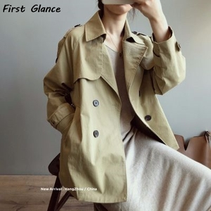 2020 Autumn New Short Windbreaker Women's British Style Loose And Thin Solid Color Long-Sleeved Women Double Breasted Coat