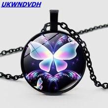 Ожерелье с подвеской в виде цветка бабочки милое романтическое