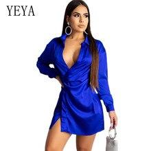 YEYA V-neck Split Short Dress New Fashion Long Sleeve Hollow Out Women Night Party Autumn Elegant Female Club Sexy Dresses