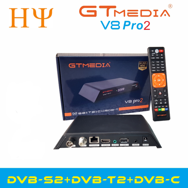 GTMedia V8 Gtmedia V8 Pro2 H.265 Full HD DVB-S2 DVB-T2 DVB-C  Satellite Receiver Built-in WiFi  Better Than Freesat V8 Golden