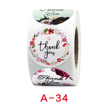 500pcs/roll Roll Thank You Flower Stickers Holiday Wedding Decoration Stickers Round Self-Adhesive Seal Labels 4 Inch image