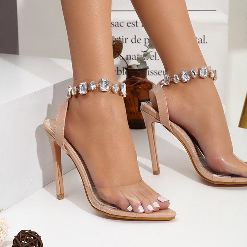 cinta apontou toe sandálias tranpai fita salto