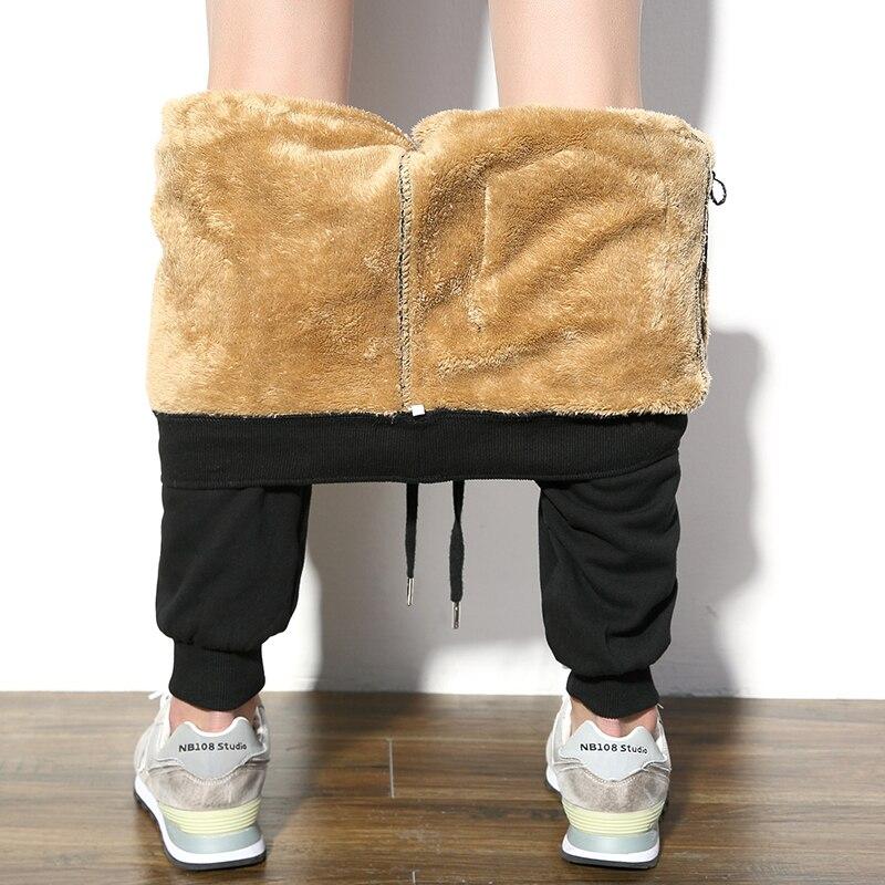 Winter Plus Velvet Thick Pants Men Warm Fashion Solid Color Casual Sweatpants Men Streetwear Wild Track Pants Male Slim M-5XL