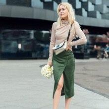 Women Sexy High Split Mid-Calf Skirt Autumn Winter Casual Solid Skirt