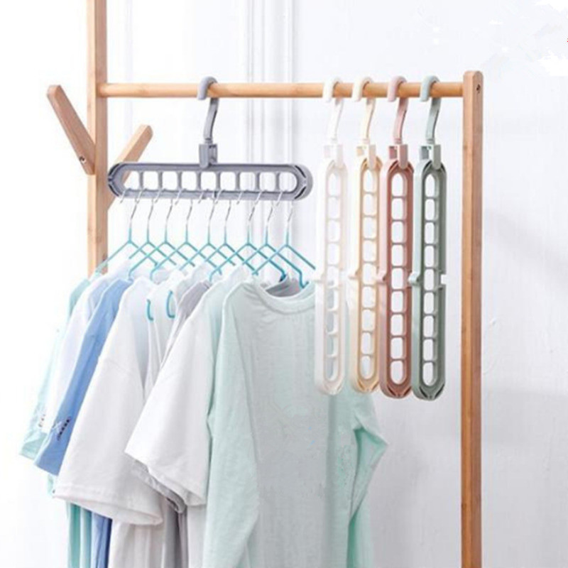 Magic Multi-port Support Circle Clothes Hanger Clothe Drying Rack Multifunction Hangers Storage Rotate Anti-skid Folding Hanger