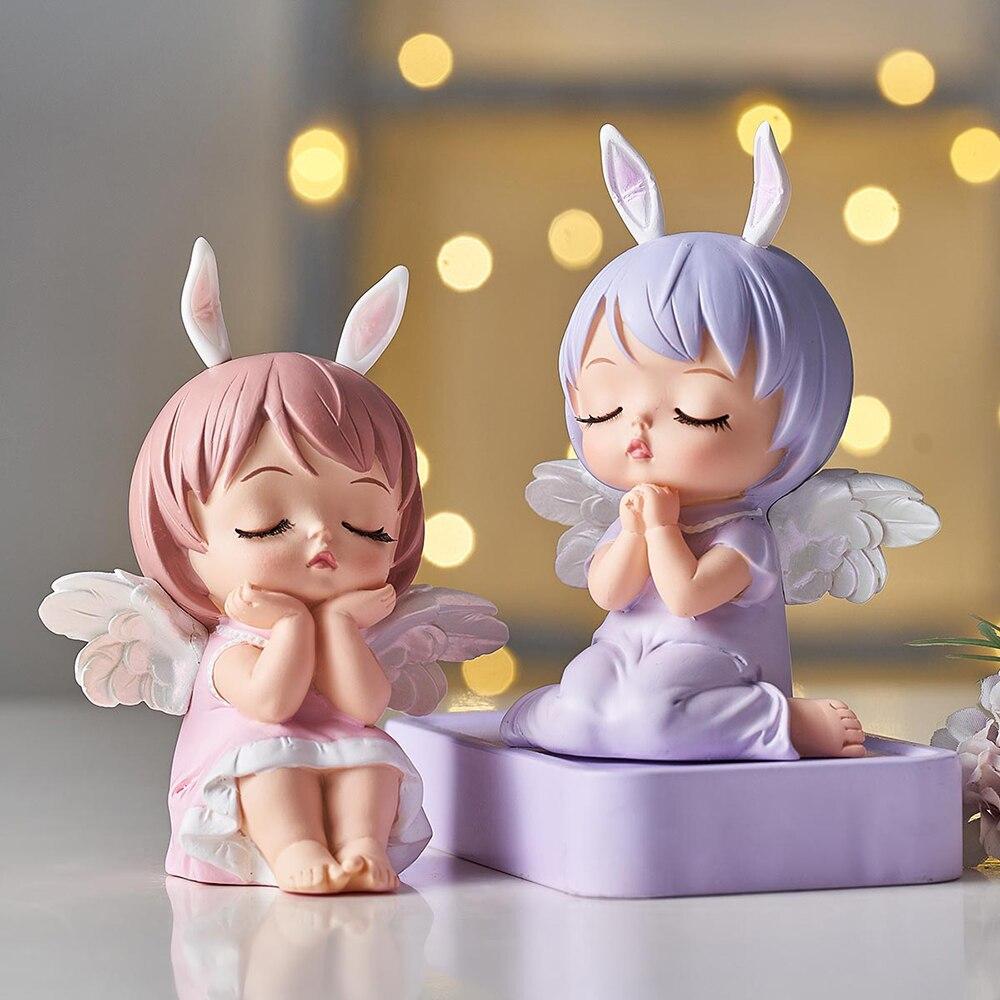 Bonito anjo do bebê estatuetas de fadas jardim miniaturas resina ornamentos menina elf estátua decoração para casa quarto decoração crianças presente aniversário