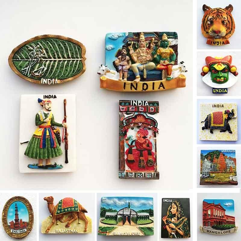 Индийский магнит на холодильник, туристический сувенир, Раджастан, Бангалор, 3D полимерные окрашенные ремесла, магниты для холодильника, нак...