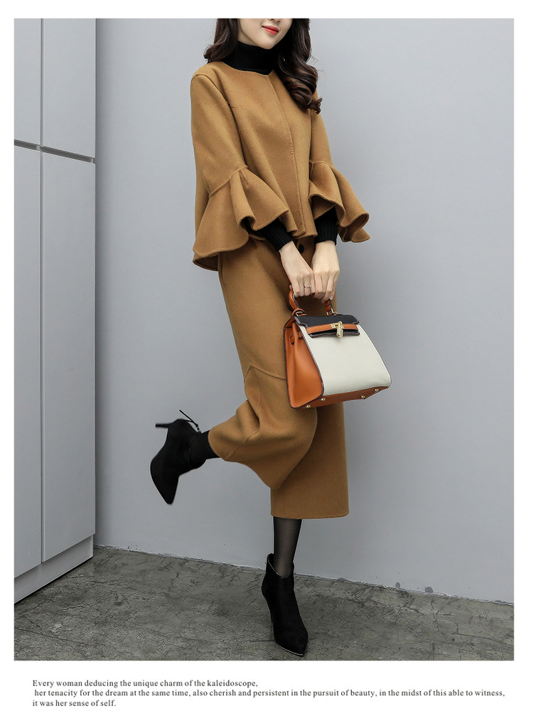 2019 Winter Woolen Elegant Two Piece Sets Outfits Women Plus Size Flare Sleeve Coat And Cropped Wide Leg Pants Suits Office Sets 36