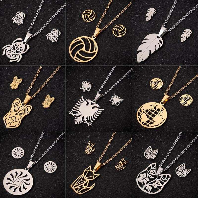 Jisensp Albanês Eagle Colares Conjuntos de Jóias de Ouro de Aço Inoxidável para As Mulheres Pena Folha Colar Brincos Jóias Presente de Natal