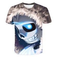 Undertale T-shirt manches courtes, mignon, crâne, Sans impression 3D, Punk pour garçon et fille, Hipster Hip Hop, T-shirt unisexe