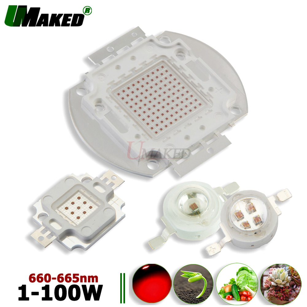 High Power <font><b>LED</b></font> Wachsen licht Chip 1W 3W 5W 10W 20W 30W 50W 100W Scheinwerfer chips 33/45Mil Deep Red 660nm Anlage Wachsen SMD <font><b>COB</b></font> Diode image