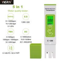 Yieryi 5 em 1 tds/ec/salinidade/s. g./medidor de temperatura monitor de qualidade de água digital testador para piscinas  água potável  aquários