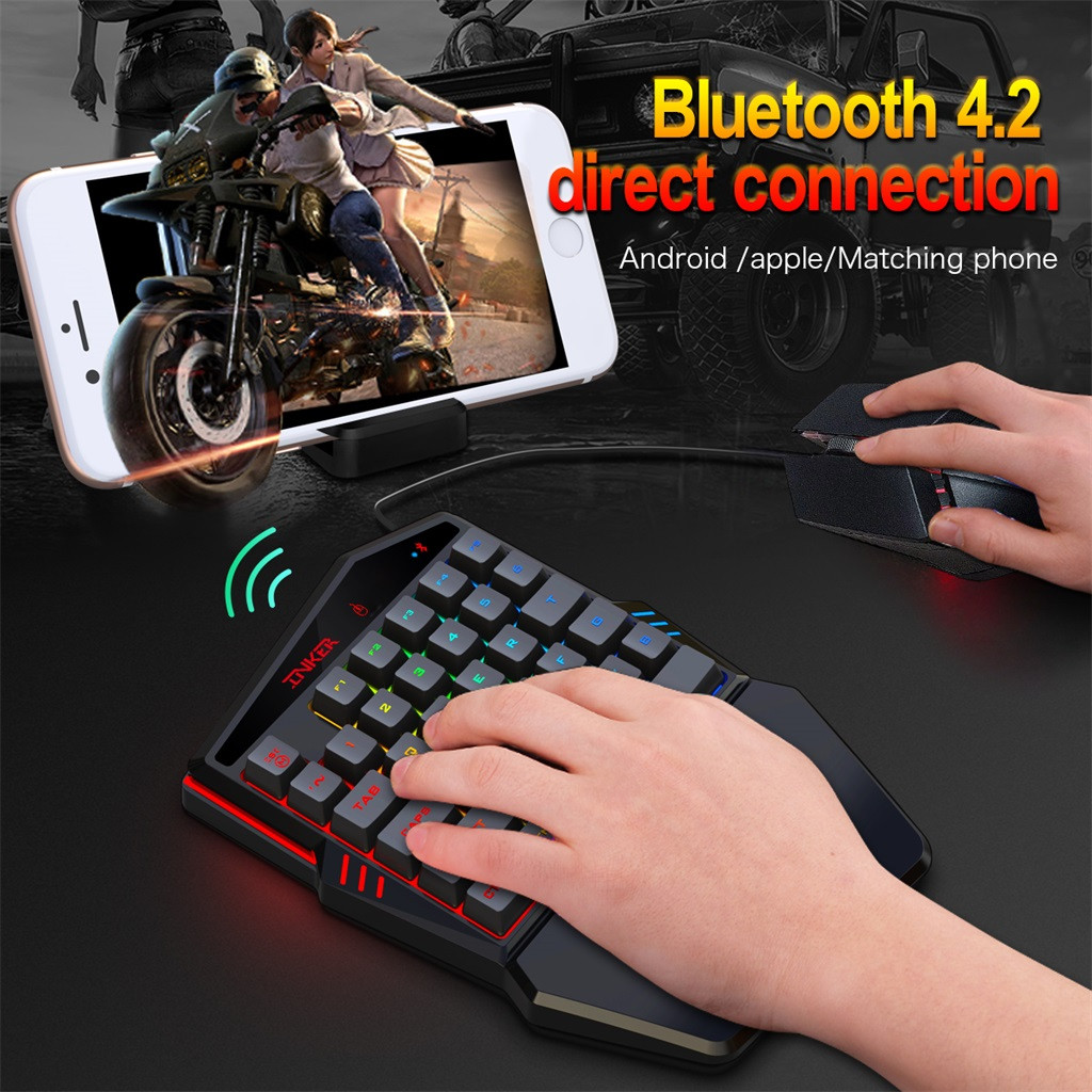 OMESHIN Multicolor Backlight One-Handed Game Keyboard Mouse Set 2400DPI Gamer Gaming Mice And Keyboard Kit For PC Cellphone Home