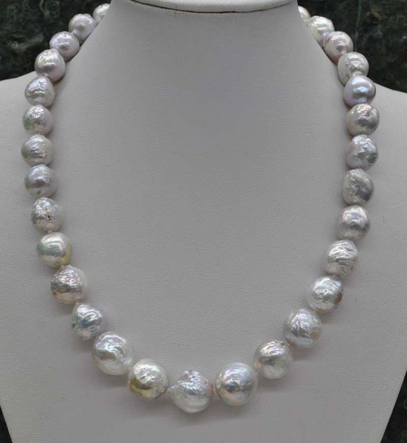 MAGNIFIQUE! Collier de perles Kasumi blanc naturel Rare 12-14mm 18