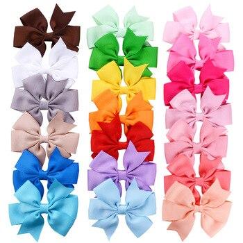 Fashion 12pcs/lot Grosgrain Ribbon Hair Bow with Clips Baby Girls Bow Hair Clip Hairpins Children Photo Props Hair Accessories