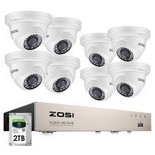 ZOSI-Sistema de seguridad para el hogar con 8 cámaras de vídeo IP, kit de vigilancia de CCTV para el hogar, grabador NVR H.265 con 8 canales, 8 cámaras impermeables de 5MP, POE