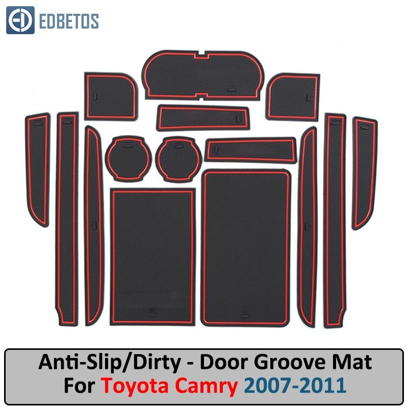 Door Groove Mat For TOYOTA Camry 2007 2008 2009 2010 2011 XV40 40 Daihatsu Altis Aurion VI 6 Anti-Slip Mat Gate Slot Coaster