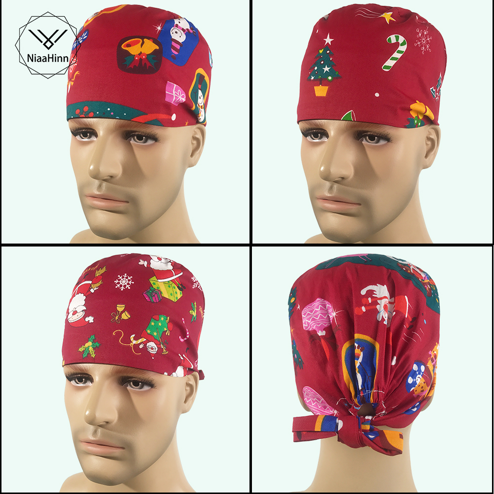 7 Styles Christmas Print Medical Surgical Surgery Hat Nurse Doctor Cap With Sweatband Men Women Pet Dentist Beauty Work Cap New