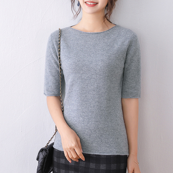 Women Jumpers One Word Neck 100% Wool Knitted Sweaters 2020 New Fashion 6Colors Standard High Quality Woolen Clothes