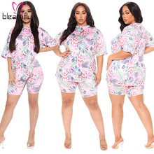 Outfit Tracksuit Shorts Two-Piece-Sets Plus-Size Women Summer for Casual 4XL 5XL Flower-Printed