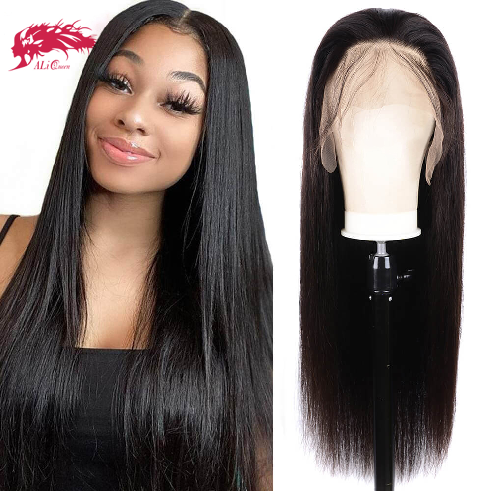 Human Hair Wig Brazilian Straight 13x4 Transparent HD Lace Front Wig 180% Density One Cut Unprocessed Virgin Human Hair Wigs