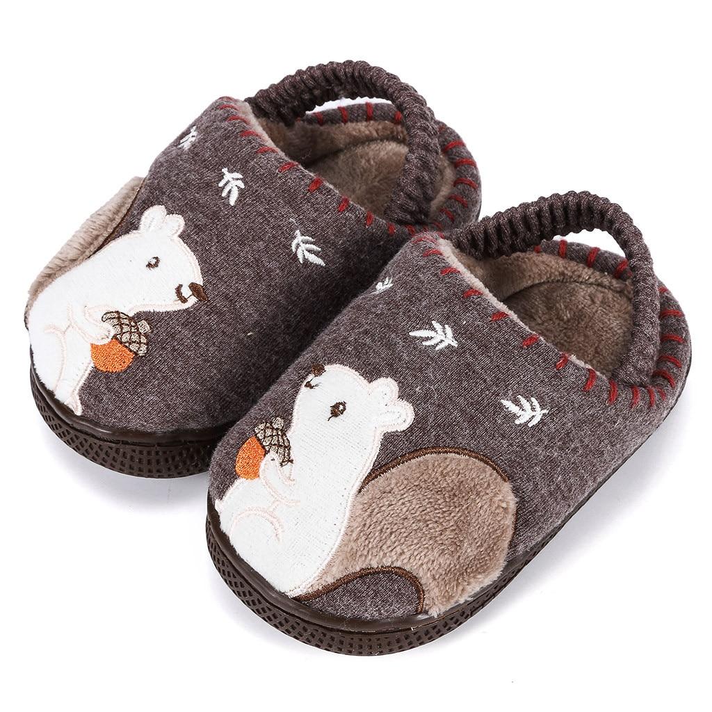 Тапочки для маленьких мальчиков и девочек; зимняя теплая пушистая обувь для детей; милые домашние тапочки с животными; детская бархатная домашняя обувь - Цвет: Coffee