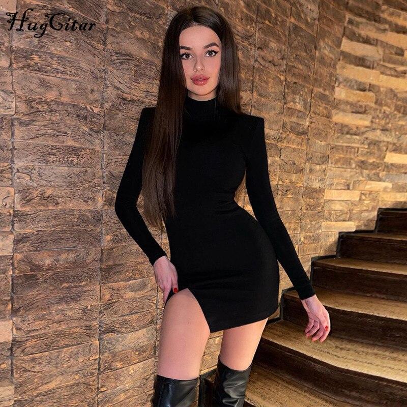 Hugcitar 2021 Langarm Solide Rollkragen Schnitten Schulter Pads Mini Kleid Frühling Sommer Frauen Mode Sexy Party Club Outfits