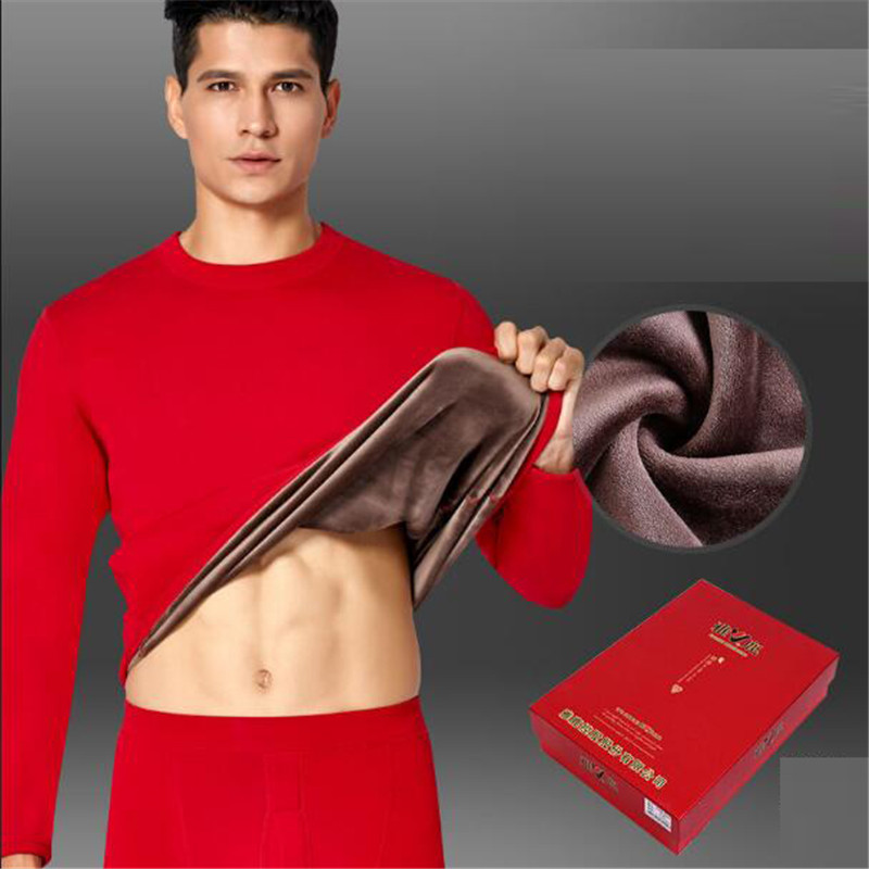 Winter Suit Wear Plus Velvet Thick Warm Thermal Underwear Set Long Johns For Male Warm Thermal Clothing