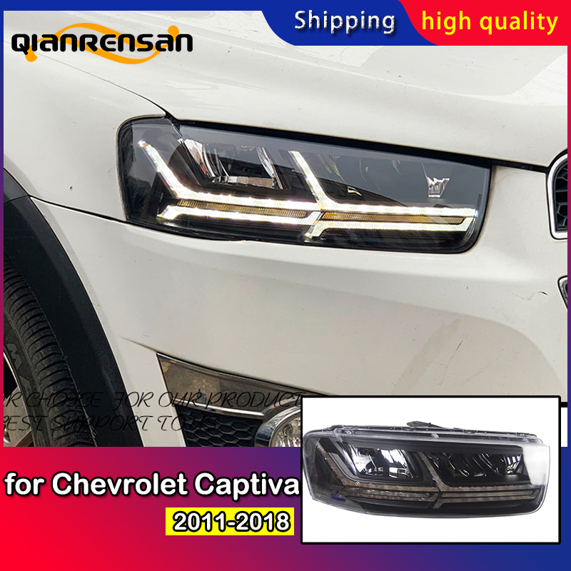 Car Styling for Chevrolet Captiva Headlights 2011 2018 Dynamic Turn Signal LED Headlight Q7 Design DRL Auto Accessories