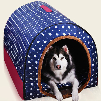 Pet Big Dog House Fully Washable Pet Kennel Cylinder Portable Dog House Golden Retriever Kennel Puppy Pet Cat Dog Bed  Dog Cage jiahui a038 detachable cotton fabric sponge pet dog cat house kennel red white grey