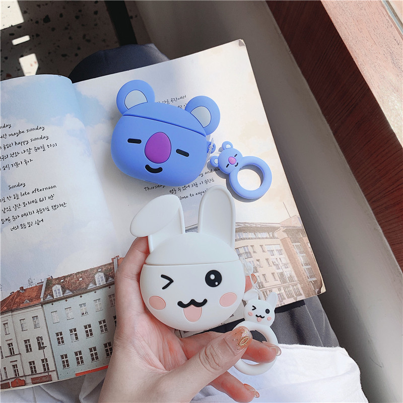For AirPod 2 Case 3D Koala Bear Rabbit Cartoon Soft Silicone Wireless Earphone Cases For Apple Airpods Case Cute Cover Funda